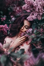 Girl, lilac, purple flowers, hazy