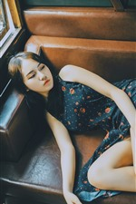 Girl lying on the sofa