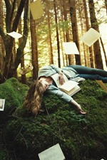 Preview iPhone wallpaper Girl, sleep, pose, forest, trees, books, paper, sword