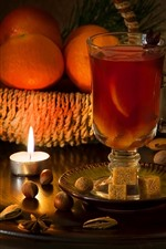 Preview iPhone wallpaper Glass cup, drinks, oranges, candles, fire, flame