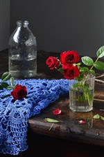 Preview iPhone wallpaper Glass cup, red roses, scissors, rope