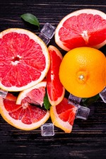 Grapefruit, red, ice cubes, fruit