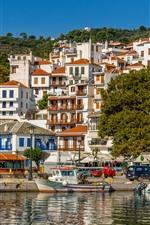 미리보기 iPhone 배경 화면 그리스, 스코 페로 스, 부두, 도시, 보트