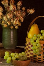 Preview iPhone wallpaper Green apple and grapes, pear, flowers, fruit