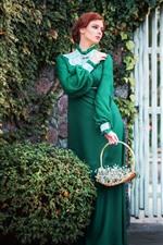 Green dress girl, gate, plants, retro style