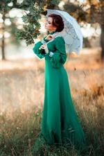 Preview iPhone wallpaper Green dress girl, umbrella, tree, retro style