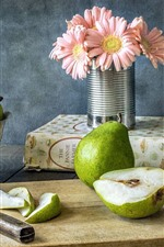 Preview iPhone wallpaper Green pears, gerbera, book, cut board, knife