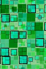 Preview iPhone wallpaper Green squares, geometric, texture background