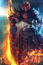 Preview iPhone wallpaper Guild Wars 2, warrior, flame