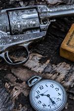 Gun, pocket watch, weapon