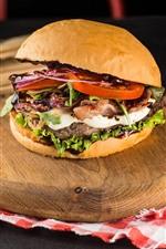 Preview iPhone wallpaper Hamburger, fast food, tomatoes, ketchup, onion