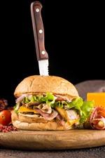 Preview iPhone wallpaper Hamburger, salad, corn, fast food