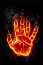 Preview iPhone wallpaper Hand, fire, flame, creative design