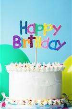 Feliz aniversario, bolo, chapéu, balão, fita