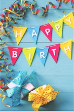 Happy Birthday, colorful flags, gifts, ribbons