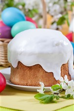 Preview iPhone wallpaper Happy Easter, cake, white flowers, colorful eggs