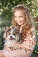 Feliz, menininha, e, cão