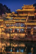 Preview iPhone wallpaper Hunan, China, village, lights, night, river