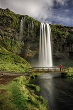 Preview iPhone wallpaper Iceland, Seljalandsfoss, waterfall, bridge, river