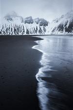 Vorschau des iPhone Hintergrundbilder Island, Strand, Meer, Winter, Berge, Schnee