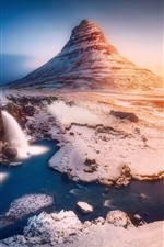 Preview iPhone wallpaper Iceland, mountain Kirkjufell, waterfalls, mountain, snow, winter