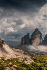 Preview iPhone wallpaper Italy, Dolomites, mountains, clouds, nature landscape