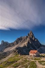 Italy, Dolomites, mountains, house, lake, sun, blue sky