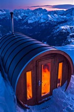 Preview iPhone wallpaper Italy, Dolomites, sauna house, snow, winter