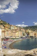 Italy, Liguria, Camogli, city, buildings, beach, people