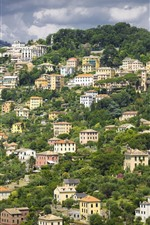 Preview iPhone wallpaper Italy, Liguria, mountains, houses, city, top view