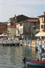 Preview iPhone wallpaper Italy, Lombardy, Brescia, houses, boats, lake