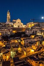 Preview iPhone wallpaper Italy, Matera, Basilicata, night, houses