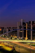 Preview iPhone wallpaper Italy, Milan, city night, buildings, road, bridge, lights
