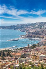 Preview iPhone wallpaper Italy, Naples, Sorrento, city view, coast, sea