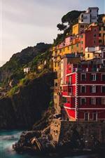Preview iPhone wallpaper Italy, Riomaggiore, Liguria, sea, village, cliff, morning