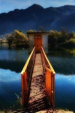 Preview iPhone wallpaper Italy, lake, bridge, trees, mountains