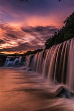 Preview iPhone wallpaper Japan, waterfall, morning, clouds