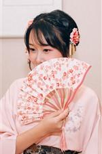 iPhone fondos de pantalla Chica japonesa, kimono, abanico de papel, mostrar media cara
