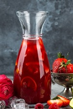 Saft, Flasche, Erdbeere, Orange, rote Rose