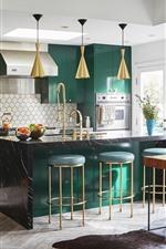 Cozinha, mesa, cadeiras, luminária, brilhante