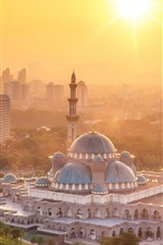 Preview iPhone wallpaper Kuala Lumpur, Malaysia, mosque, city, sunshine, morning