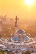 미리보기 iPhone 배경 화면 쿠알라 룸푸르, 말레이시아, 사원, 도시, 햇빛, 아침