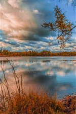 Preview iPhone wallpaper Lake, water, trees, clouds, autumn
