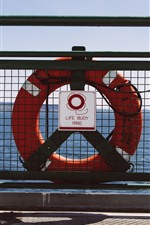 Preview iPhone wallpaper Life buoy ring, fence