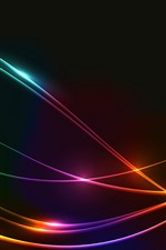 Preview iPhone wallpaper Light curves, red blue and green, abstract, black background