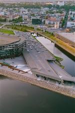 Lituânia, Kaunas, cidade, carros, rio, Arena Zalgiris