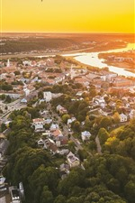 Preview iPhone wallpaper Lithuania, Kaunas, cityscape, top view, sunset