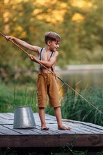 Preview iPhone wallpaper Little boy to fishing