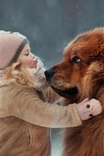 Preview iPhone wallpaper Little girl and Tibetan Mastiff, friendship