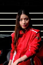 Preview iPhone wallpaper Long hair Asian girl, red clothes